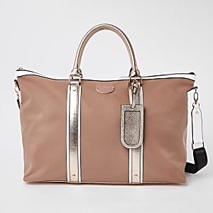 Beige mixed panel weekend bag