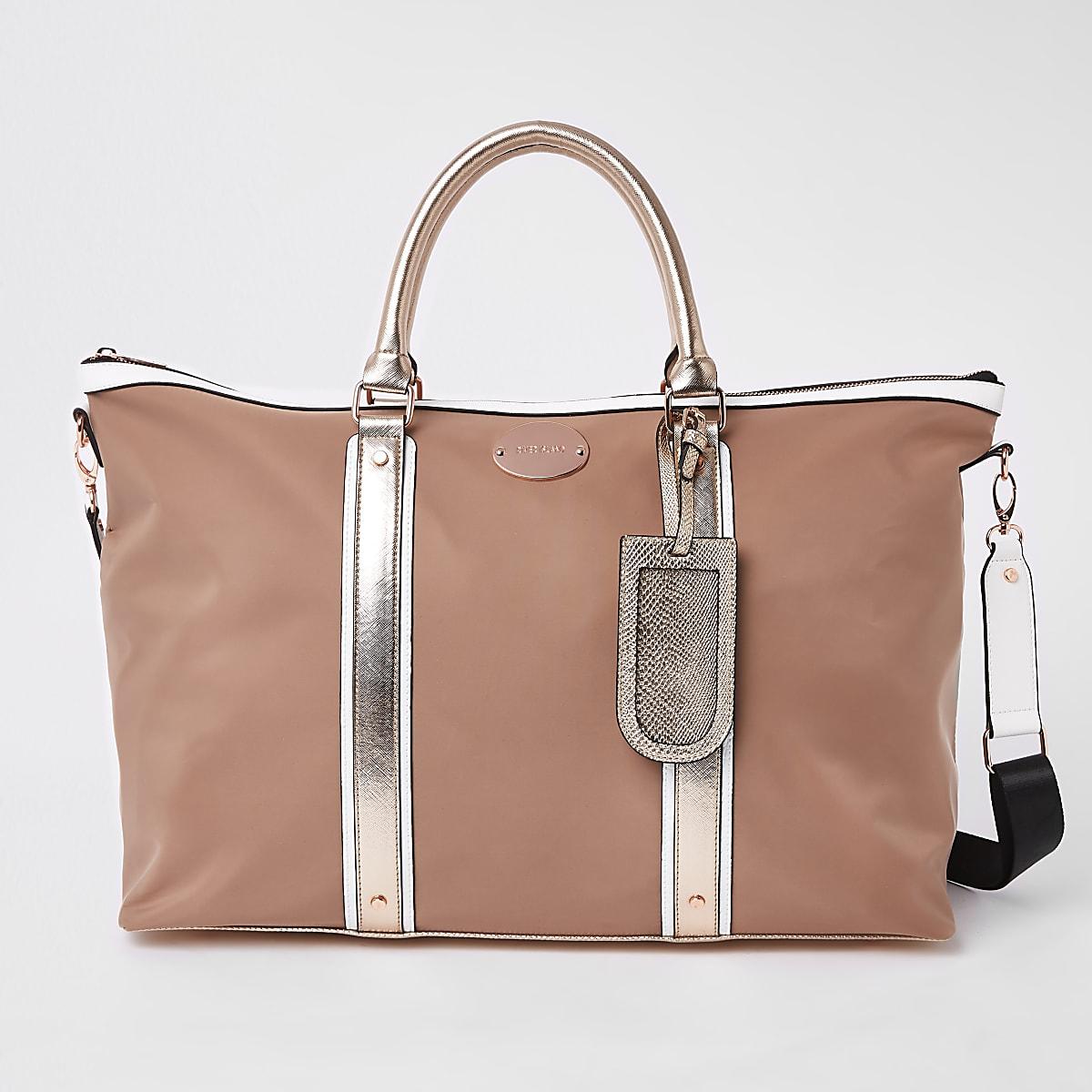 Beige mixed panel weekend bag