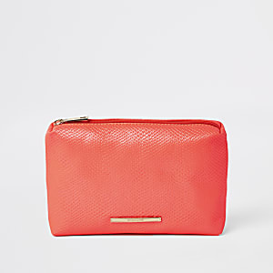 Neon orange croc embossed makeup bag