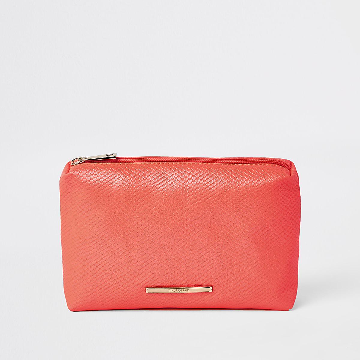 Neon orange croc embossed makeup bag