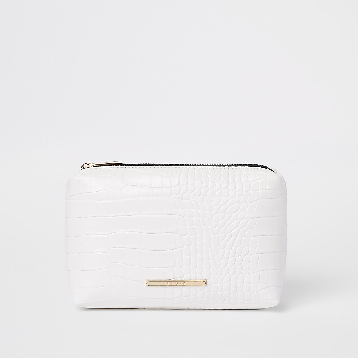 White croc embossed makeup bag