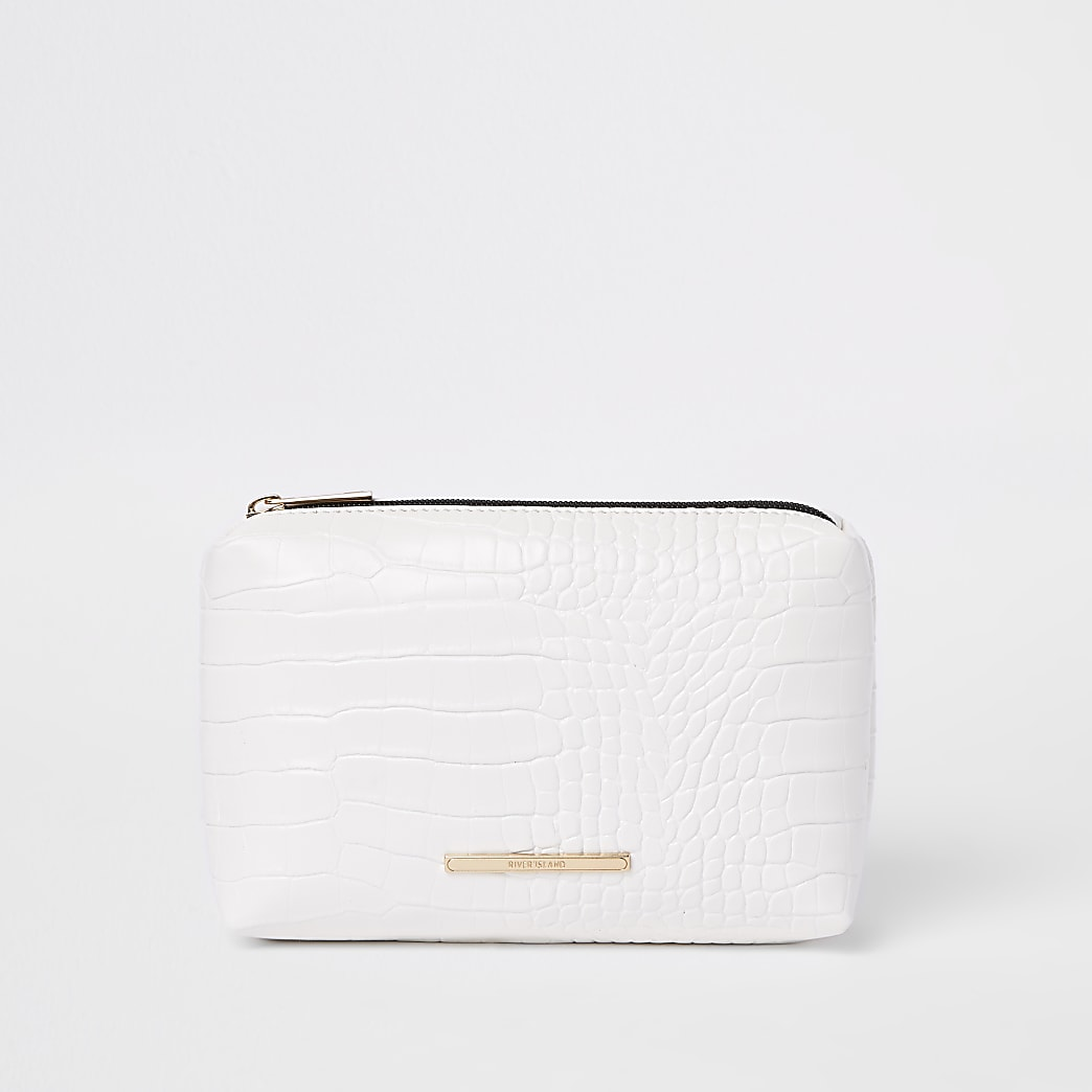 White croc embossed makeup bag