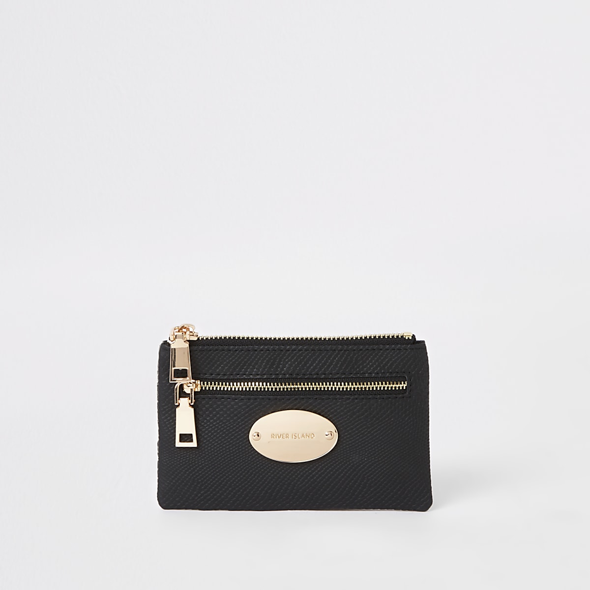 Black gold tone snake trim mini oval purse