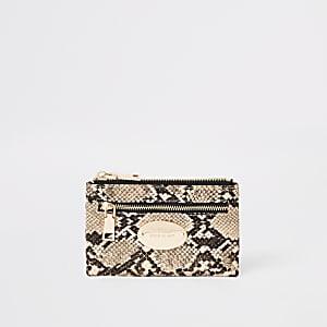 Beige snake print mini oval RI branding purse