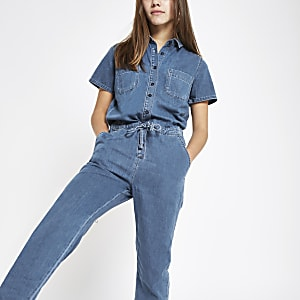 Petite blue utility denim jumpsuit