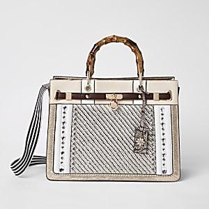Beige weave embellished tote bag
