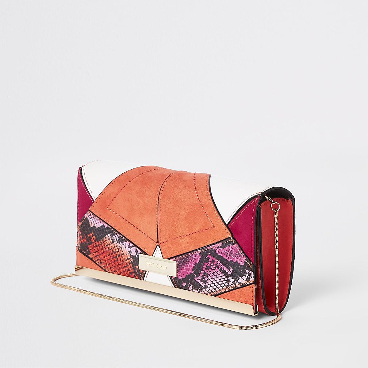 Roze lange clutch met panelen met slangenprint
