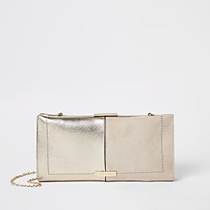 Clutch in Beige-Metallic