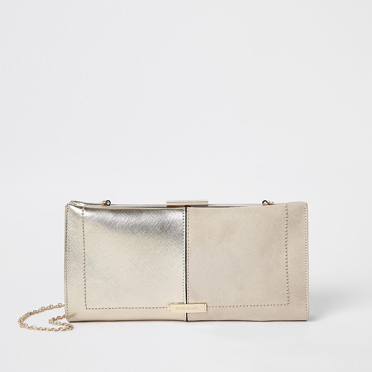 Pochette beige métallisée à fermoir clip
