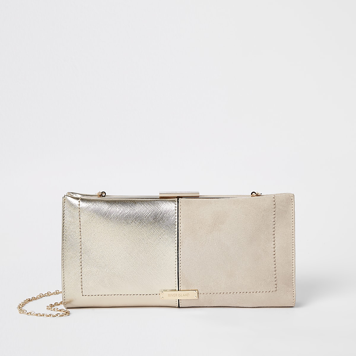 Beige metallic clutch met druksluiting