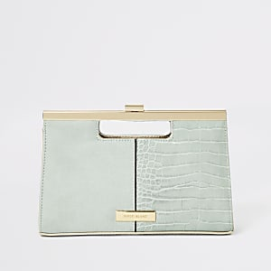 7a5f657c9aea1 Light green grab handle clutch bag
