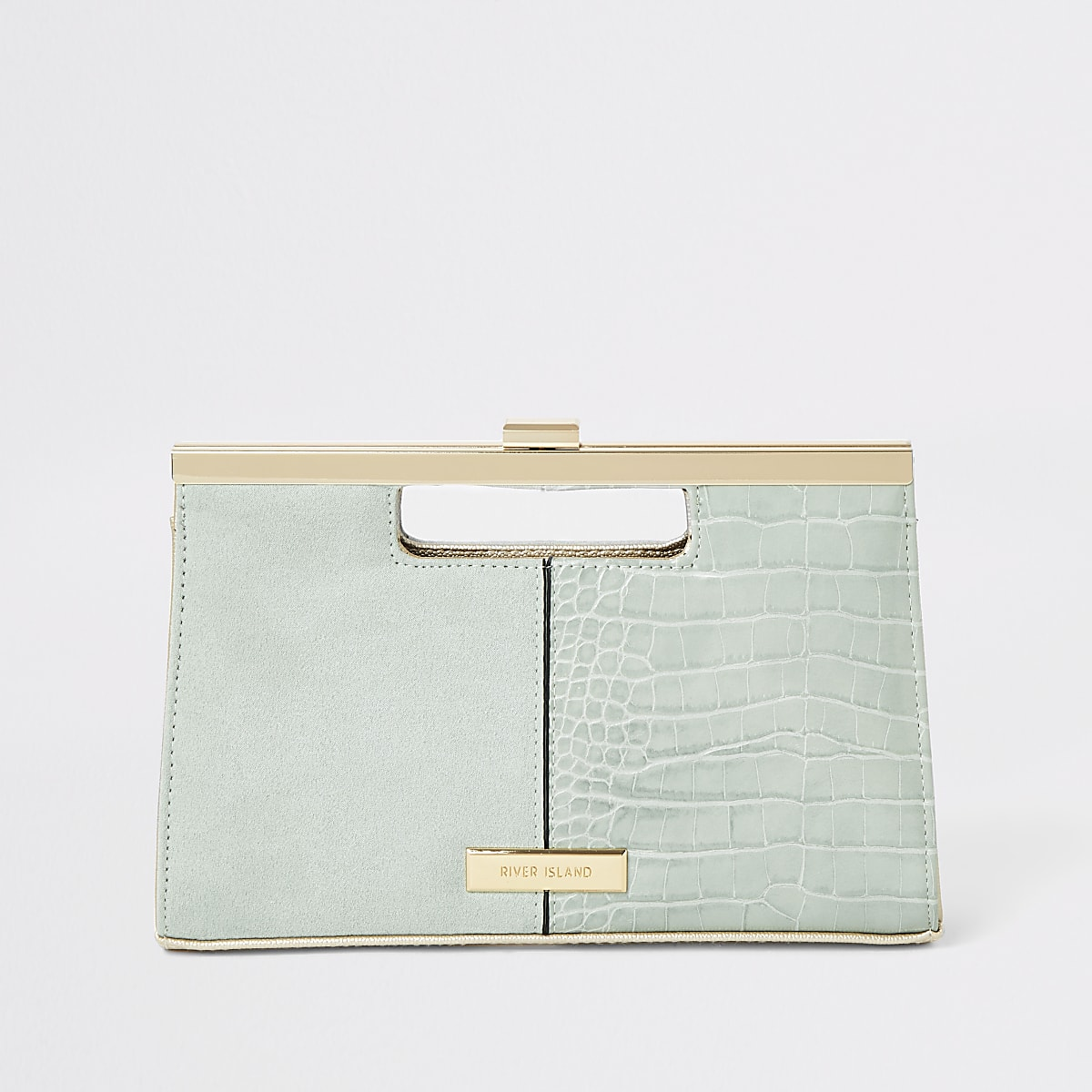 Light green grab handle clutch bag