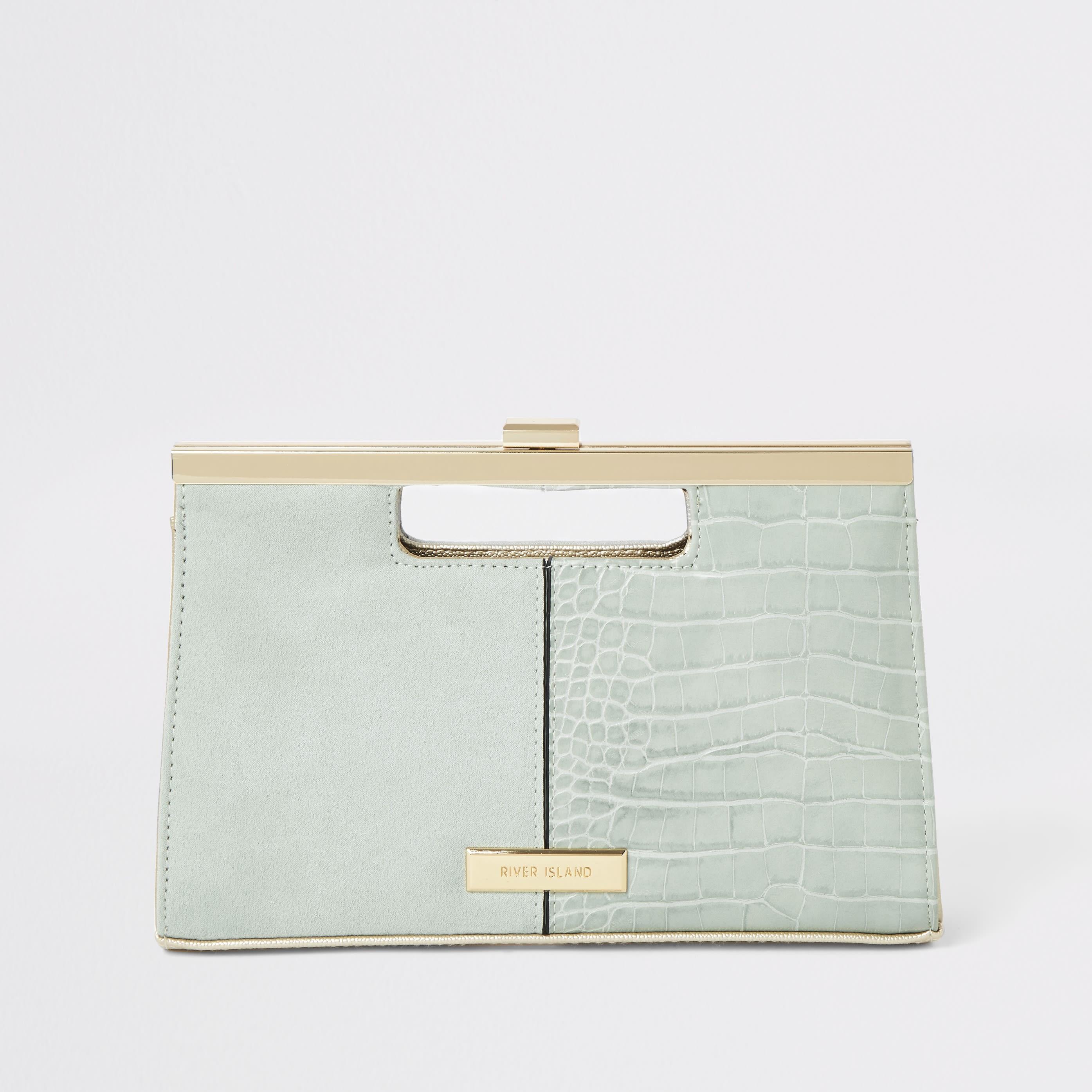 RIVER ISLAND | Womens Light Green Grab Handle Clutch Bag | Goxip