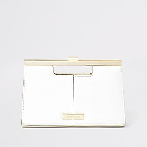 White croc grab handle clutch bag