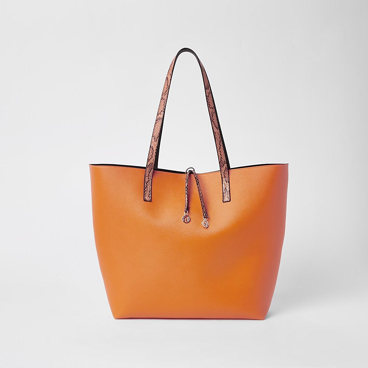 Neon orange beach bag