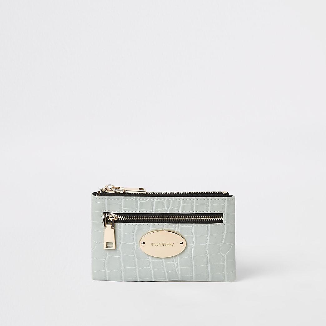 Green croc mini oval RI branding purse