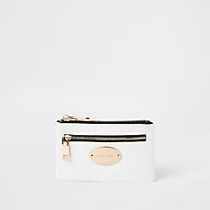 White croc mini oval RI branding purse