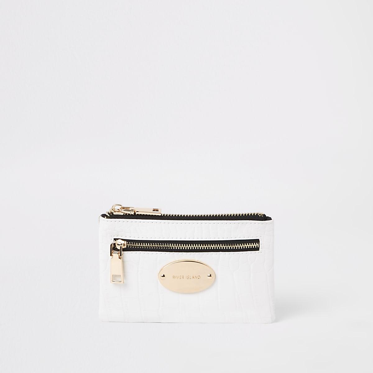 White croc mini oval RI branding purse