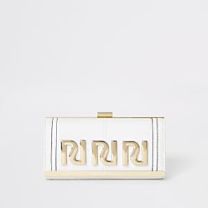 Witte portemonnee met RI-logo in reliëf en druksluiting