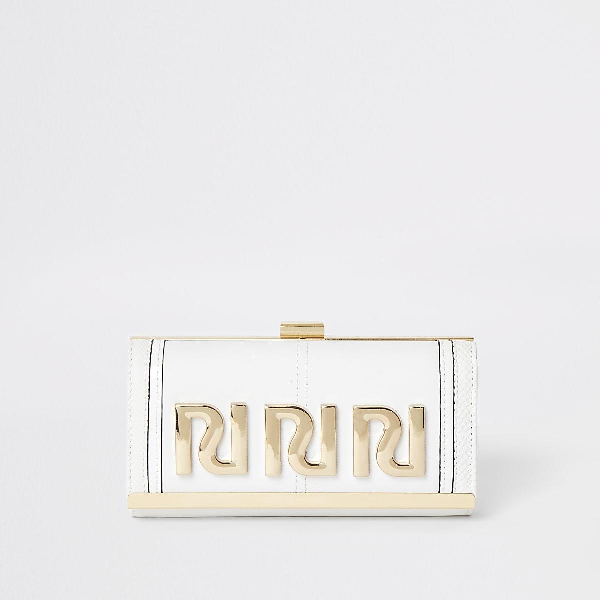 White RI embossed clip top purse