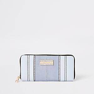 Porte-monnaie bleu pailleté zippé