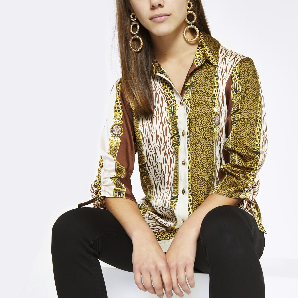 Petite brown mixed print boyfriend shirt