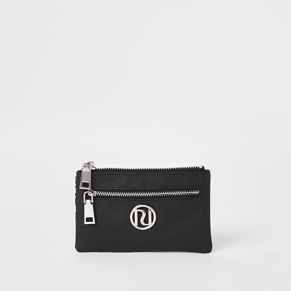 Black silver tone snake trim mini purse