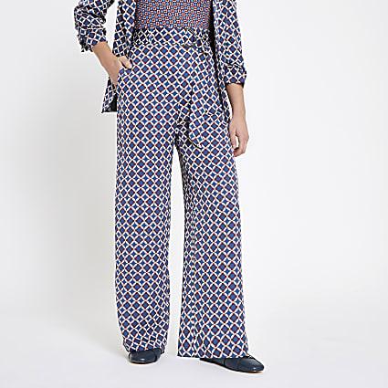 Petite blue geo print wide leg trousers