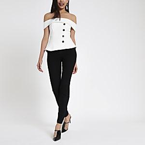 White button front bardot top