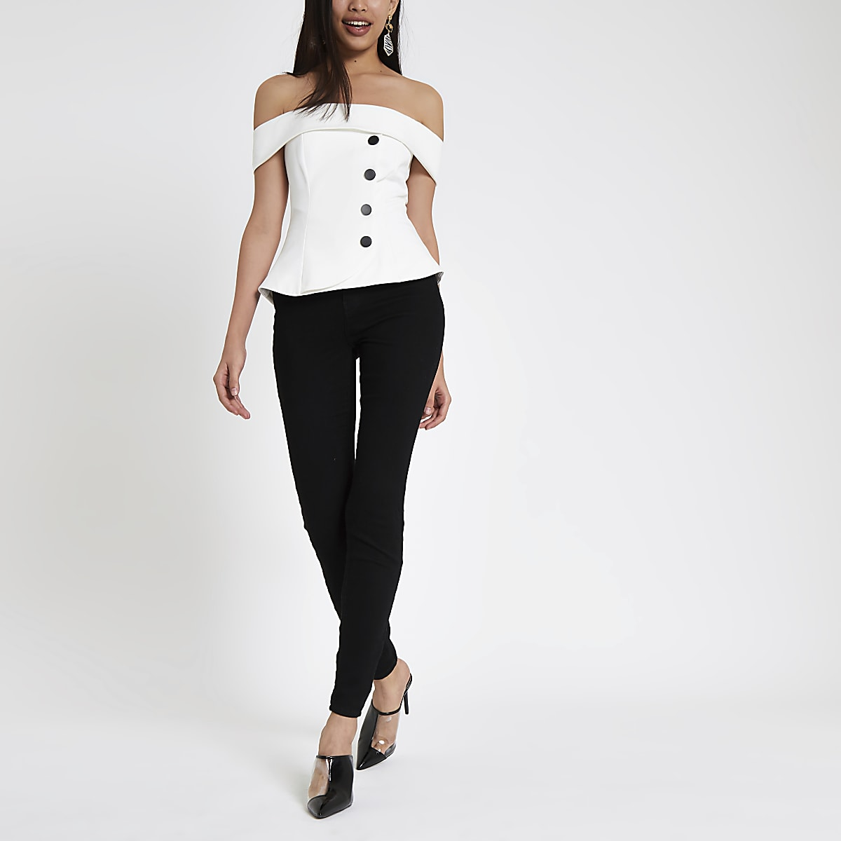 White button front bardot top