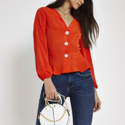 Red button front loose fit tea top