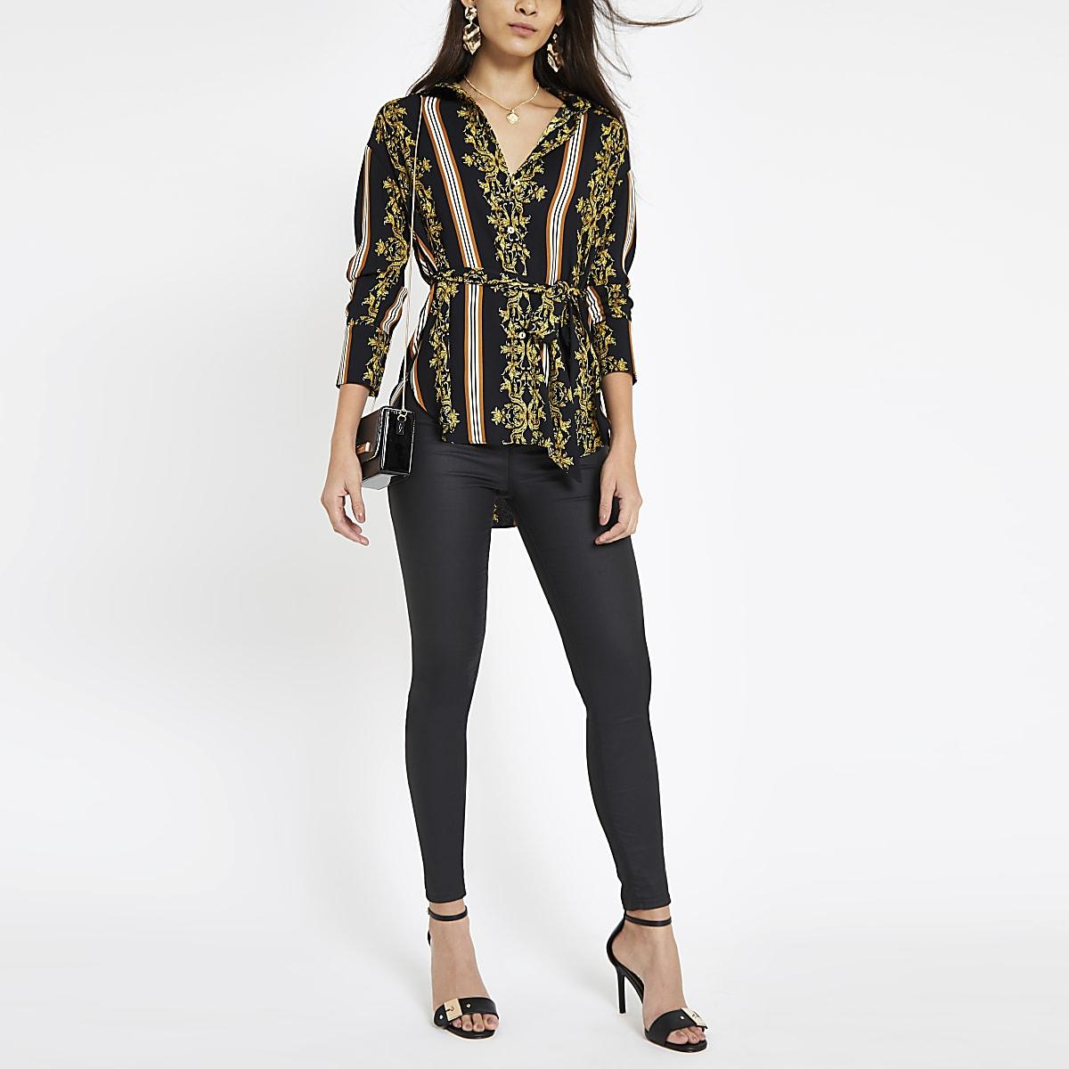 Black baroque print tie waist blouse
