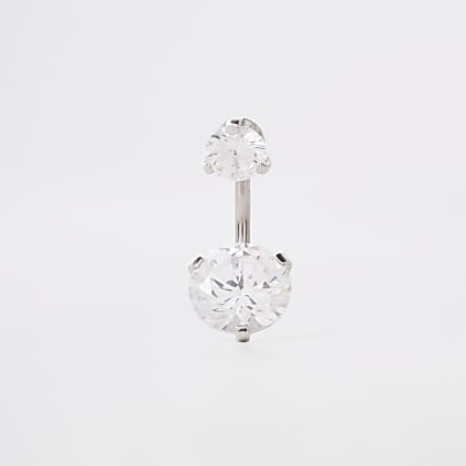 Silver colour large cubic zirconia belly bar