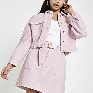 Veste en denim rose oversize