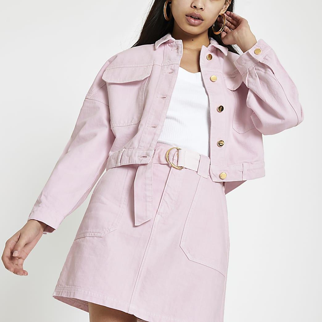 Roze oversized denim jack