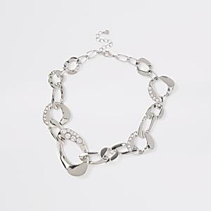 Silver colour chunky diamante necklace