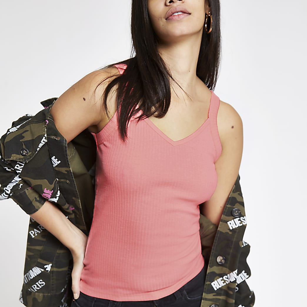 Neon pink ribbed vest