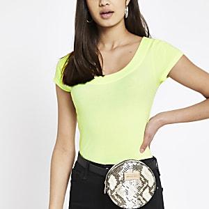 Neon yellow scoop neck T-shirt