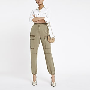 Beige Hailey utility trousers