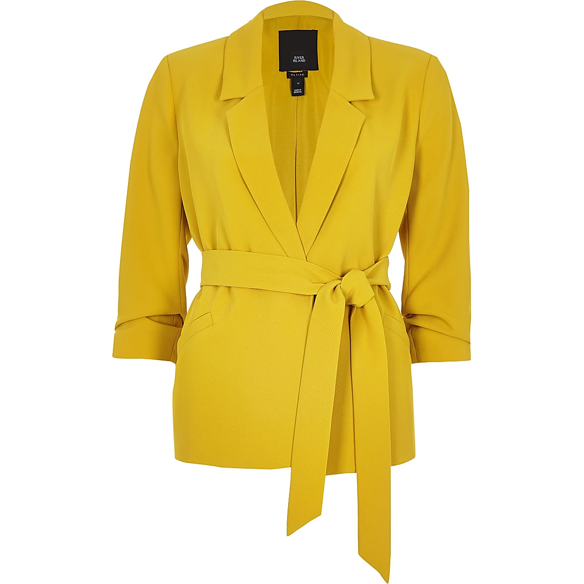 b431e30a0 Petite yellow ruched sleeve belted blazer