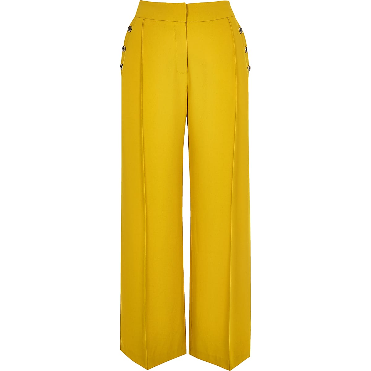 Petite yellow button wide leg trousers
