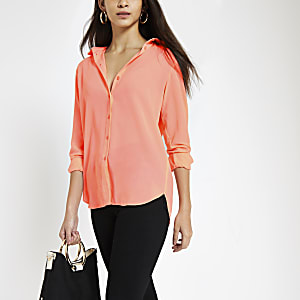 Bright pink long sleeve blouse