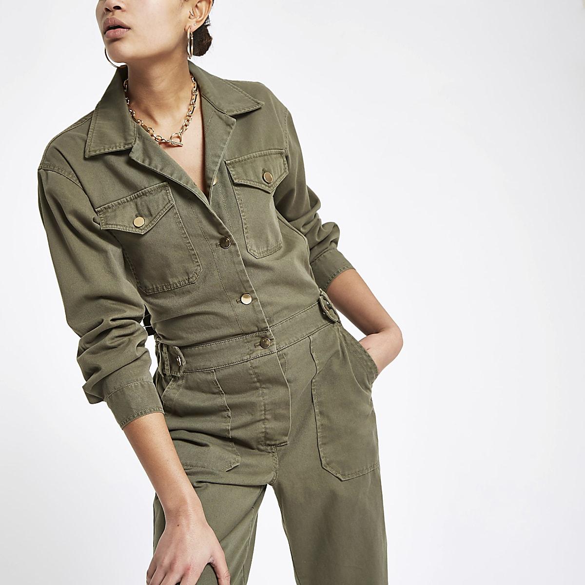 Khaki utility boiler jumpsuit