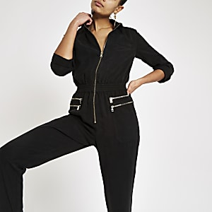 Black utility boiler jumpsuit