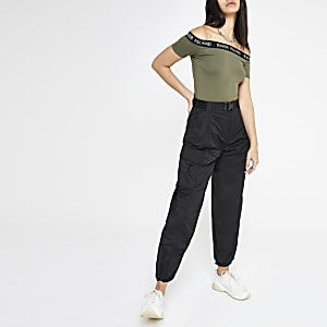 Black belted utility pants