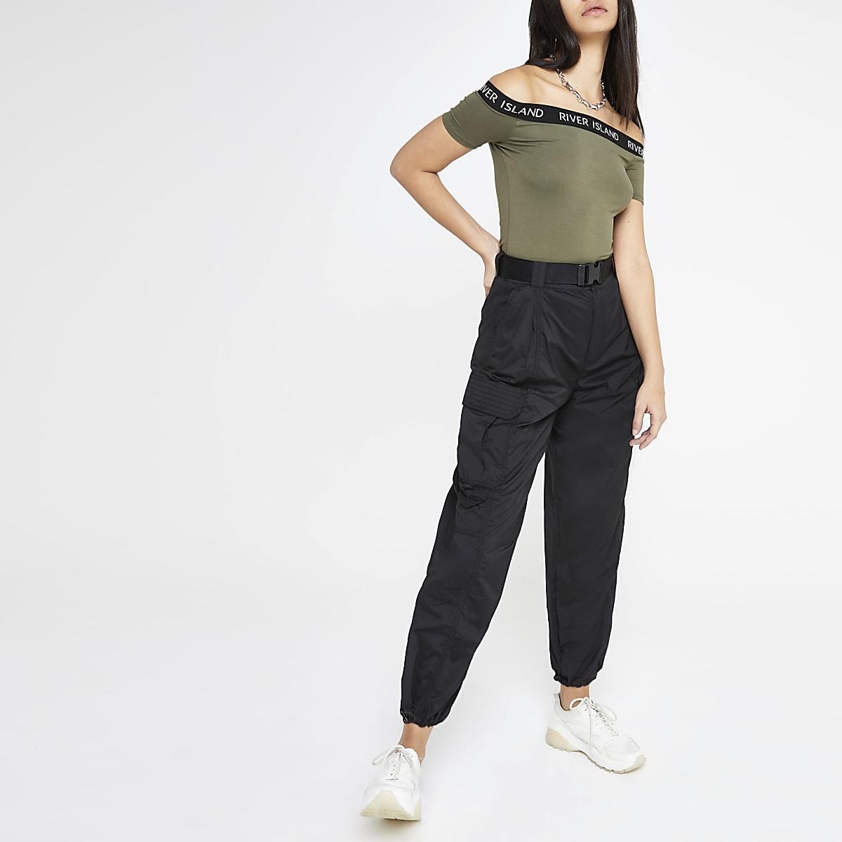 Pantalon utilitaire noir ceinturé