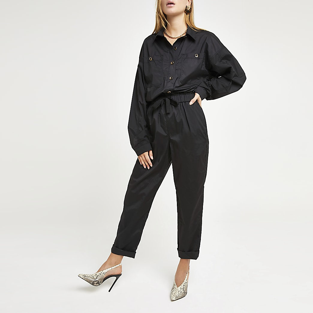 Zwarte utility boiler jumpsuit