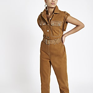 Combinaison fonctionnelle marron style workwear