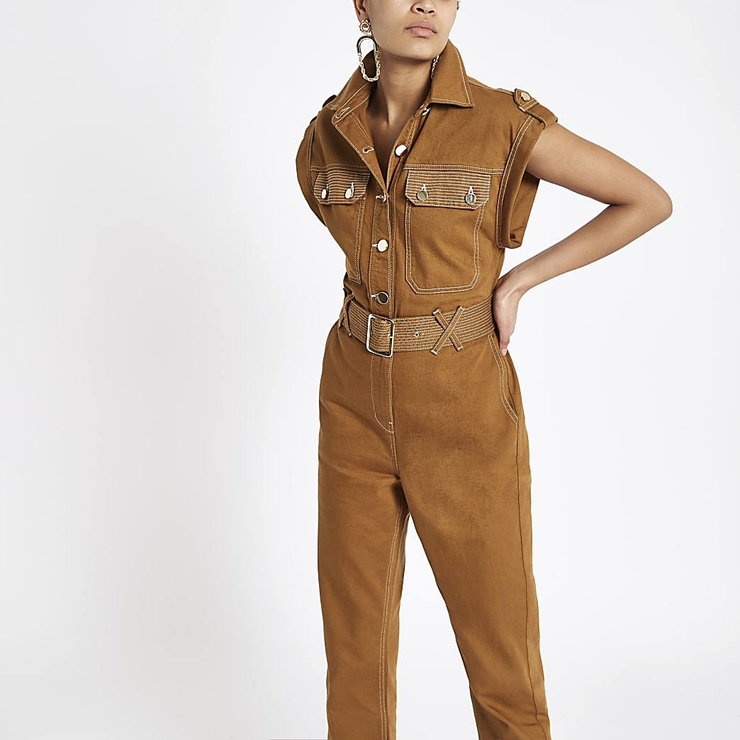 Brown utility boiler jumpsuit