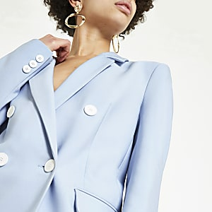 Light blue double-breasted boyfriend blazer